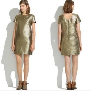 Madewell Metallic Gold Shift Party Dress EUC